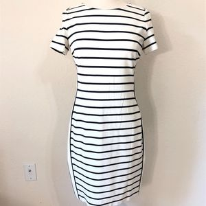 Banana Republic Body Con Dress White with Stripes.